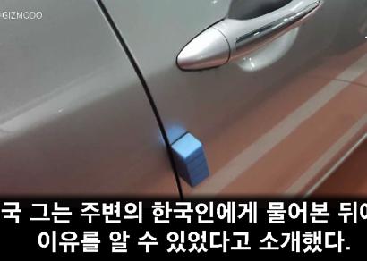 호주인이 해석한 한국 車 문의 파란색 스펀지