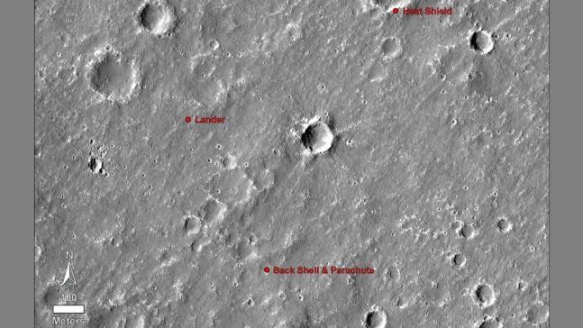 NASA의 화성정찰위성 MRO가 촬영한 인사이트 모습