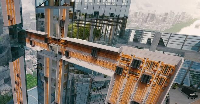 로프없이 수직-수평 이동이 가능한 멀티 엘리베이터 개념도. 티센크루프 제공