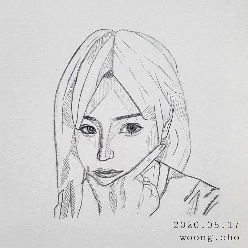 2020.05.17. 여성 여자 얼굴 간소화 스케치 샤프 그림