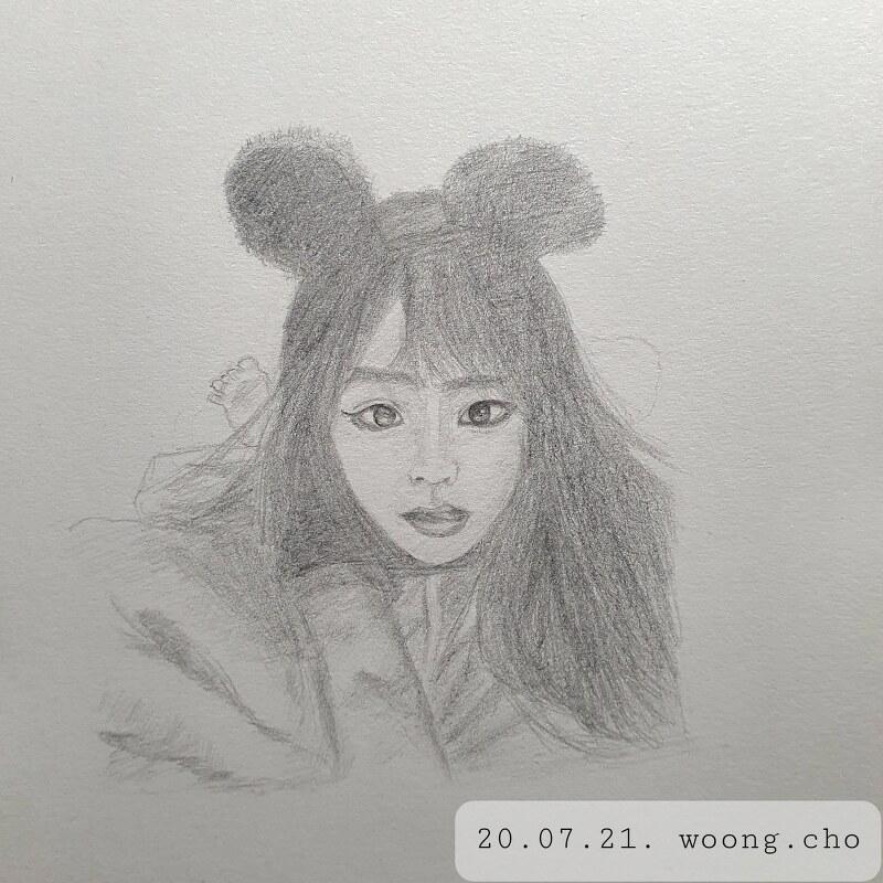 2020.07.21. mechanical pencil quick drawing portrait
