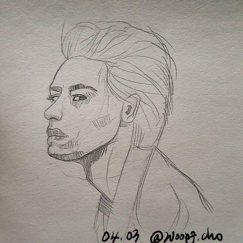 20.04.03. 서양인 남자 얼굴 스케치