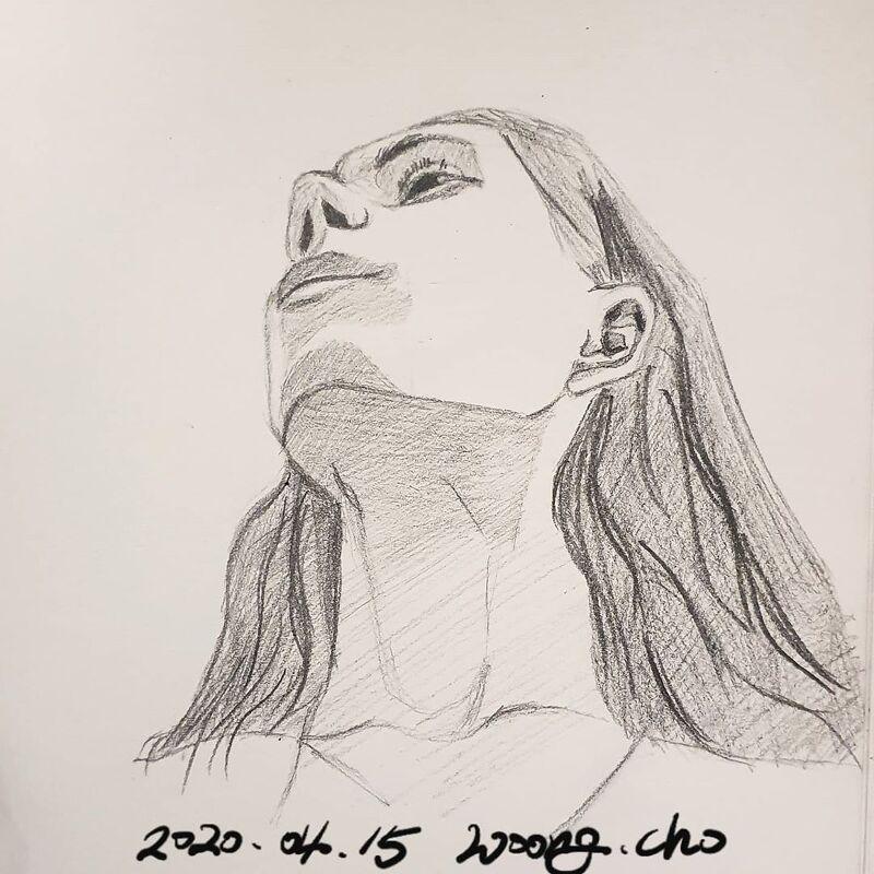 20.04.15. 여성 얼굴 대각선 각도 스케치 퀵드로잉