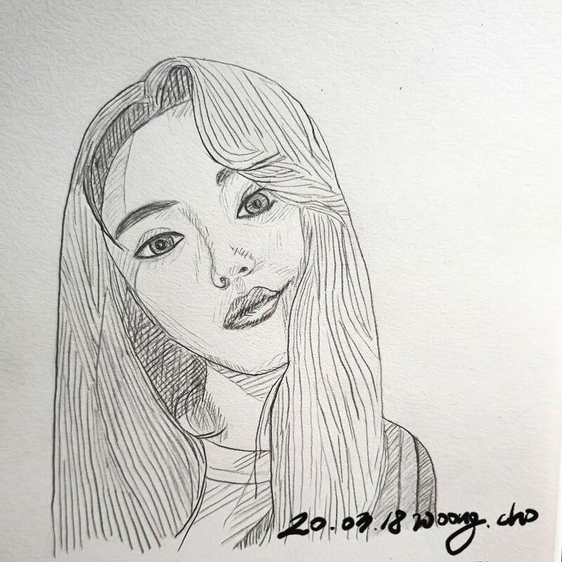 20.03.18. 여자 스케치 샤프 펜 드로잉