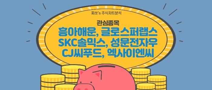 관심종목-흥아해운, 글로스퍼랩스, SKC솔믹스, 성문전자우, CJ씨푸드, 엑사이엔씨