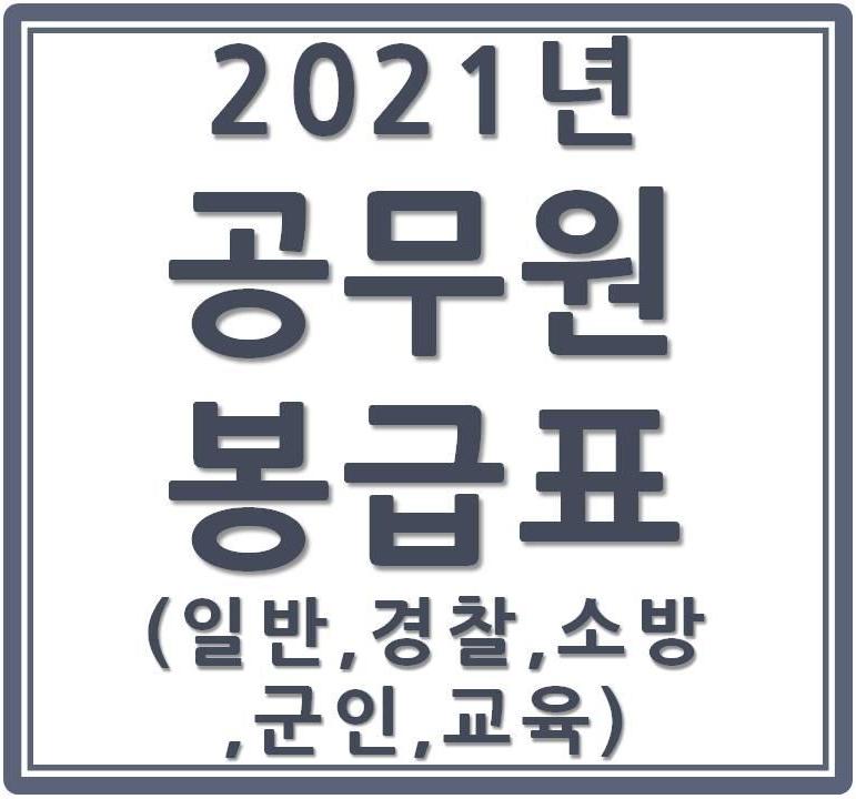 2021공무원 봉급표(일반·경찰·소방·군인·교육)