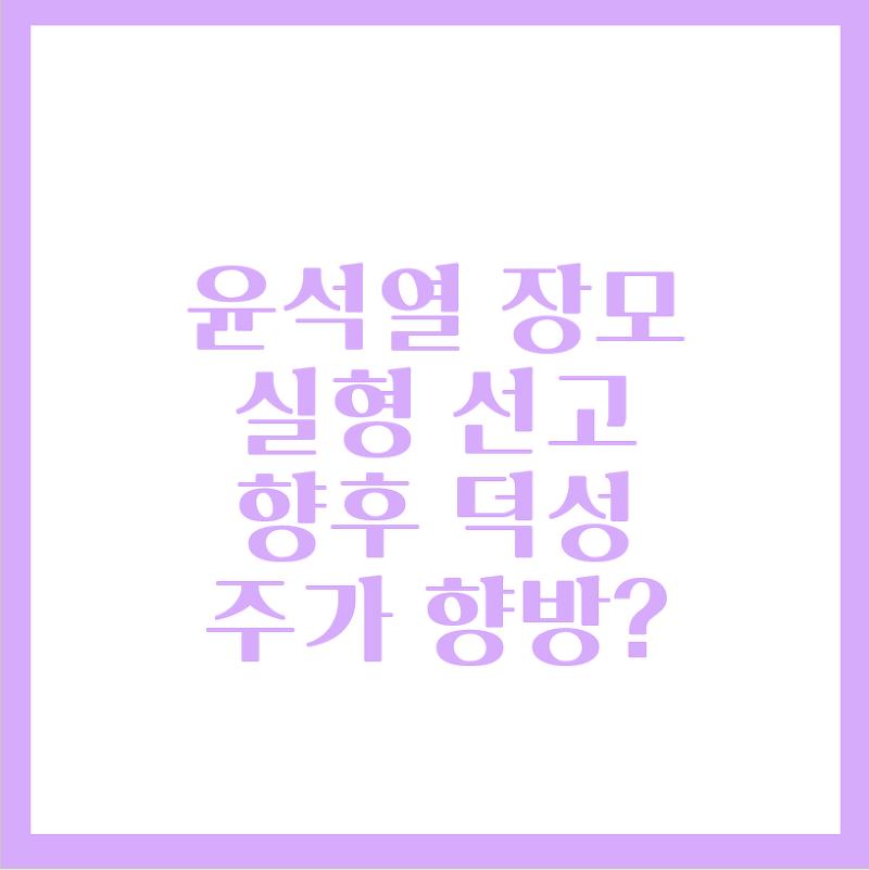 장모 실형 선고, 윤석열 관련주 주가는?(Feat.덕성)