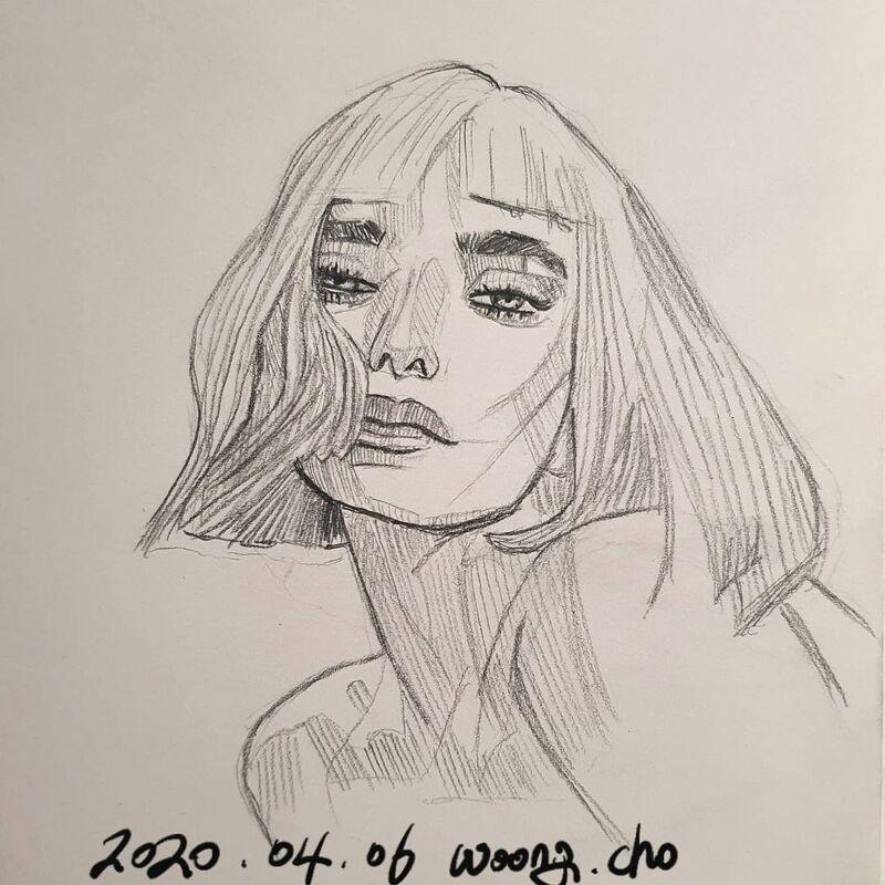 20.04.06. 외국인 여성 mechanic pencil 퀵드로잉 스케치