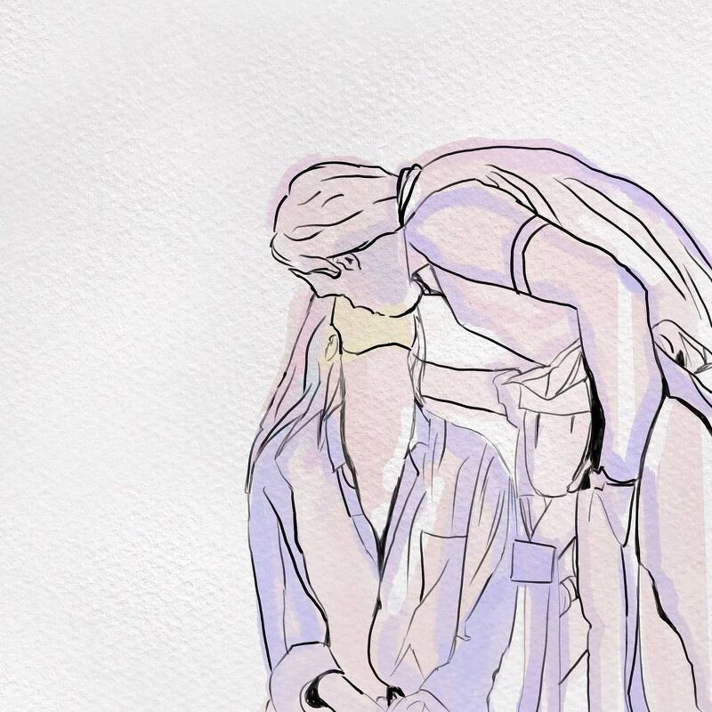 2021.04.20. couple love kiss scean drawing