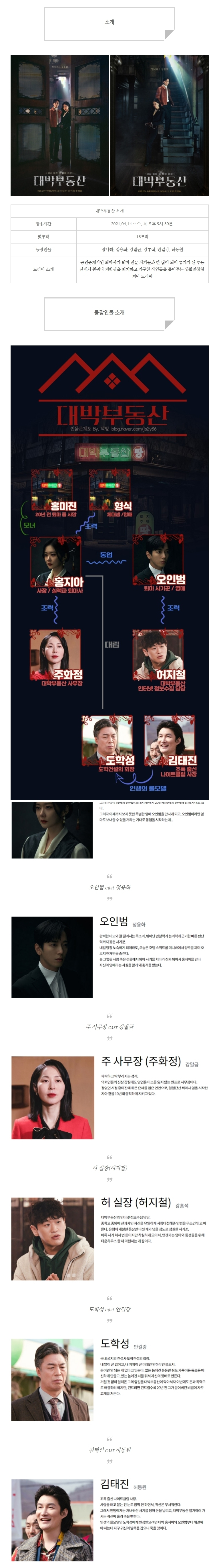 [수목드라마] 대박부동산 인물관계도, 몇부작, 정보