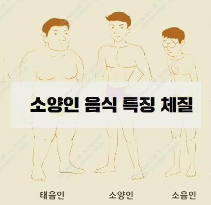 소양인 음식 특징 그리고 체질