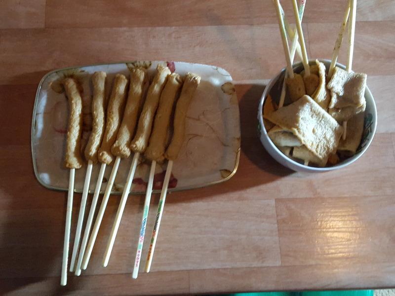 김장 육수물에 어묵 익혀 먹어요.