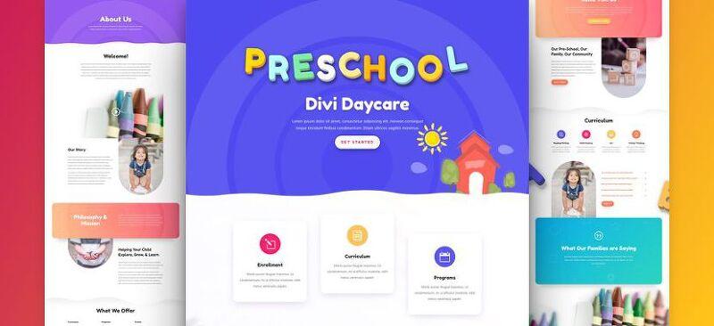 워드프레스 Divi 테마용 무료 어린이집 레이아웃 팩(Daycare Layout Pack)