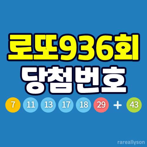 로또936회당첨번호와 당첨금, 1등 판매점 위치