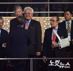 북 장웅IOC 위원 만난 문재인 대통령