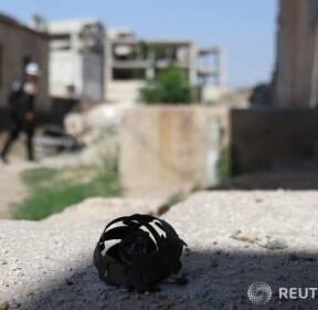 시리아 다라의 폭탄 잔해