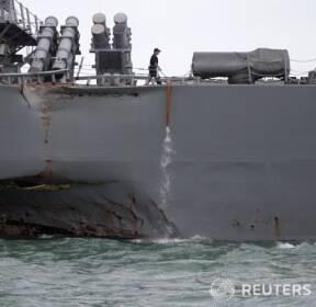 싱가포르 상선과 충돌한 미 USS 존 매케인호