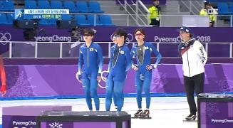 스피드스케이팅 한국 남자 팀추월 팀원들 밥 데용 코치와 사이좋게 연습 중 [MBC]