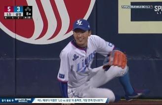 박해민, 중계진도 어리벙벙해진 슈퍼 캐치 / 8회초