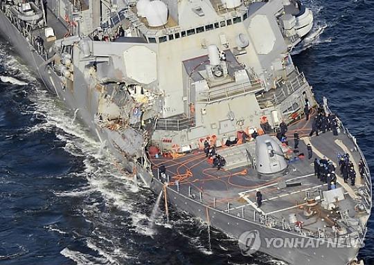 """""""지난달 美이지스함-컨테이너선 충돌사고, 美해군 잘못"""""""