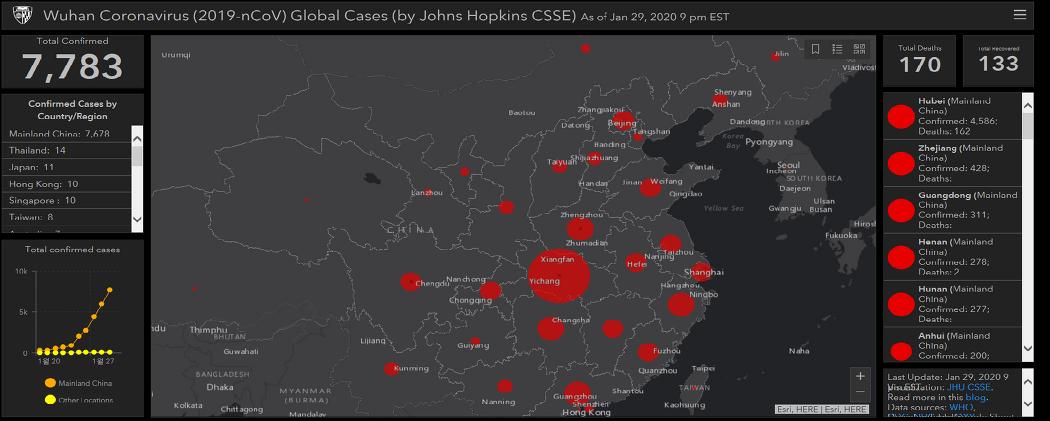 신종 코로나 바이러스(우한 폐렴) 실시간 현황 지도