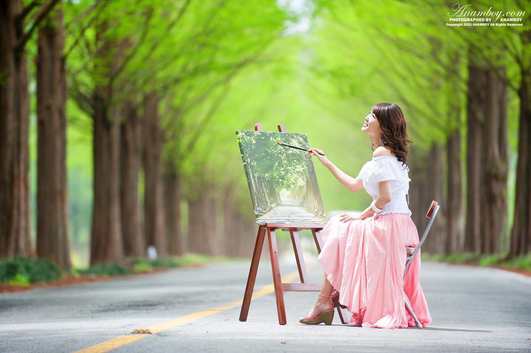 그림 그리는 아름다운 미녀 담양 메타세콰이어 길의 모델 방은영