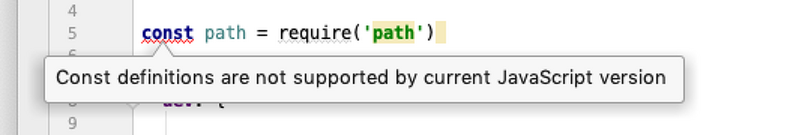const definitions are not supported by current javascript version