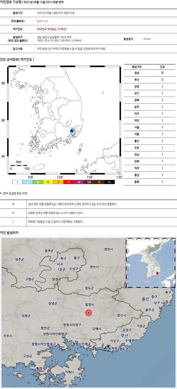 South korea Earthquake kyungnam milyang city southsoutheast 11km depth 16km 2.2M