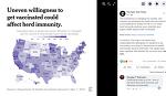 미국 백신 현황 지도.미국 코로나 백신 접종 의향, 보수는 소극적.
