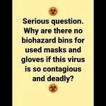 왜 사용한 마스크와 장갑을 버리는 통은 없을까 Serious Question