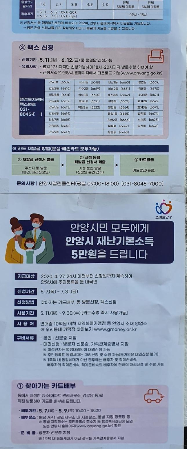 [5월 6일자 업데이트]안양시 긴급재난 지원금 계획(5월7일부터 신청)
