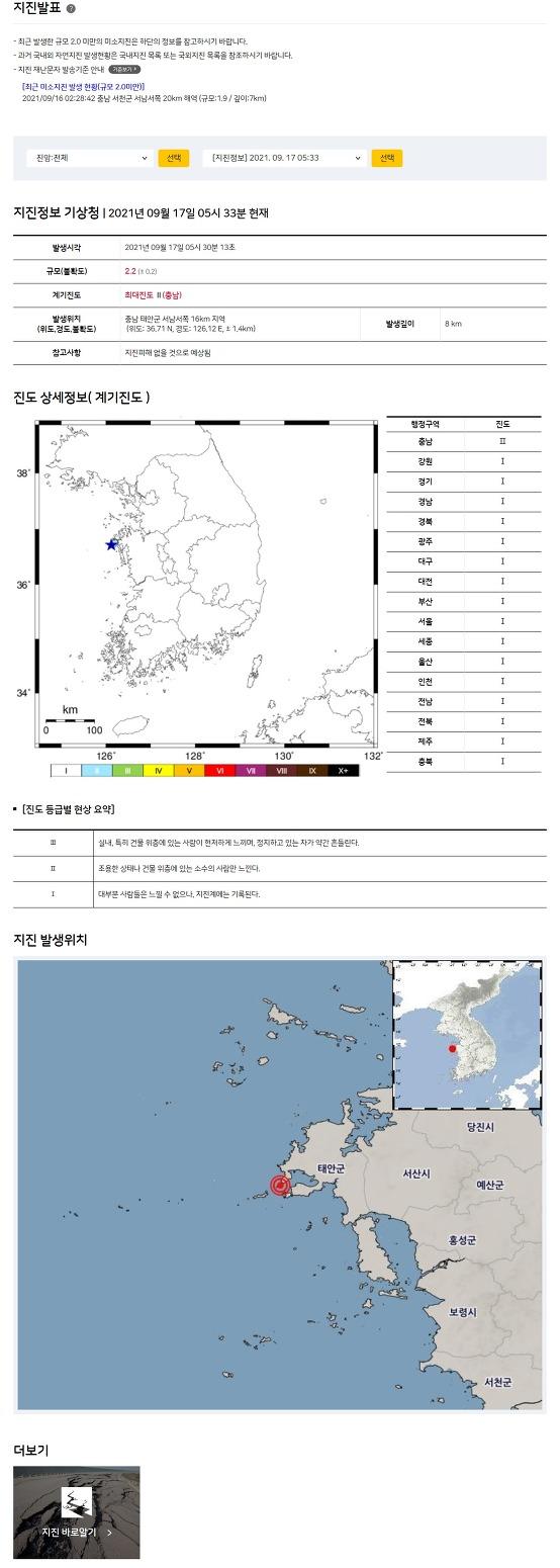 Earthquake south korea chungnam taean gun westsouthwest 16km depth 8km 2.2M