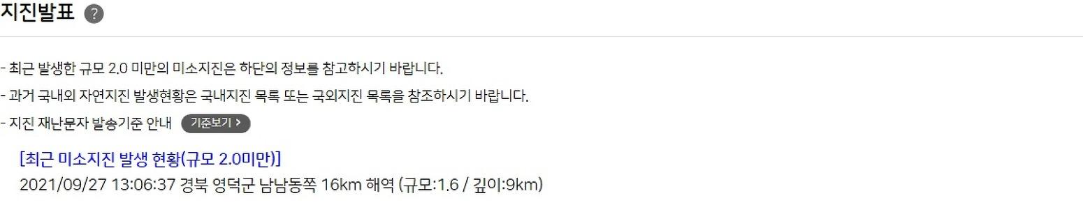 Earthquake south korea kyungbuk yeongdeokgun southsoutheast 16km sea area depth 9km 1.6M