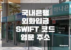 국내은행 외화입금 SWIFT 코드, 영문 주소