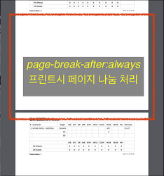 [CSS] CSS 를 사용한 프린트시 페이지 나눔 처리 방법 page-break-after: always;
