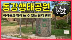 동강생태공원 - 강원도 정선, 아이들과 뛰어놀 수 있는 잔디 광장