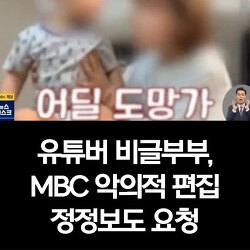 유튜버 비글부부, 'MBC 아동학대 보도 내용' 악의적 편집 정정보도 요청