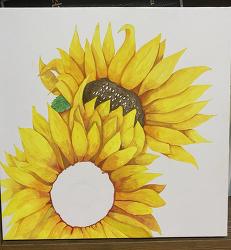 포스터 물감으로 직접 해바라기 그림 그리기 ㅋㅋ
