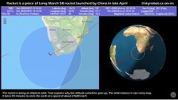 [20210509]추락하는 중국 로켓(위치.고도) 실시간 유튜브 영상 보기