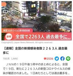 11월19일 일본 확진자 하루에 2327명 나왔어요