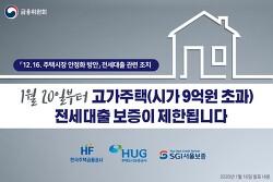 시가9억원 초과하는 고가주택 전세대출 보증 제한(부제. 금융위원회, 갭투자, 부동산정책, 1월20일)