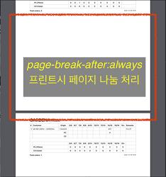 CSS 를 사용한 프린트시 페이지 나눔 처리 방법 page-break-after: always;