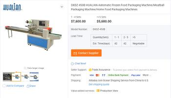 [중국 기계 수입 대행] 자동 냉동 식품 포장 기계 / 미트볼 포장 기계 / 홈 식품 포장 기계