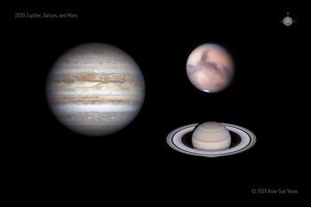 3 Planet (Jupiter, Saturn, Mars) 2020-10-12 UT 3 행성 (목성, 토성, 화성)