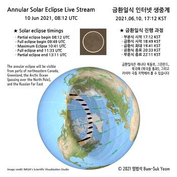 2021 금환일식 인터넷 생중계 2021 Annular Solar Eclipse Live Stream