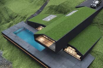 현대적이고 깔끔한 블랙 빌라