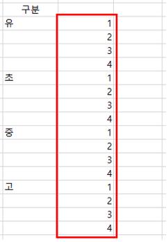 [엑셀번호자동입력] 그룹별로 번호를 반복적으로 넣어야할때