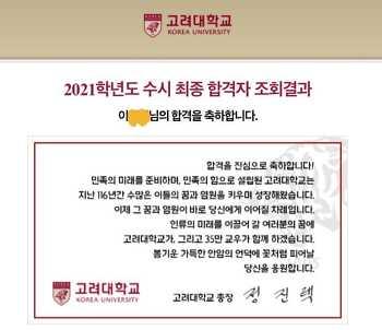 [수시] 고려대학교 합격