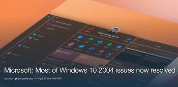 MS 윈도우10, 2004 버그 해결한 업데이트 공개... 4개는 아직 미해결