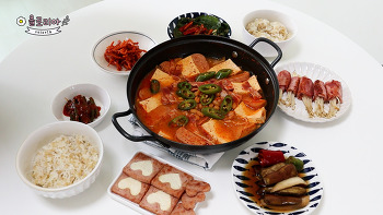 저녁메뉴 찌개와 반찬2가지 더 만들기 : 스팸요리  버섯요리